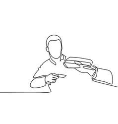 man entering credit card in swipe machine vector image