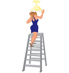 Cartoon woman in blue dress on the ladder fixing vector image vector image