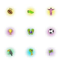 Country Brazil icons set pop-art style vector image vector image