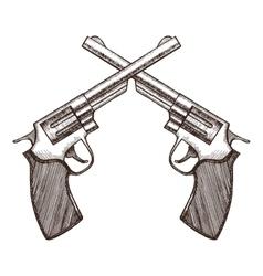Crossed Pistols Hand Draw Sketch vector image