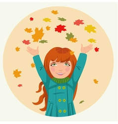 little girl throws up autumn leaves vector image vector image
