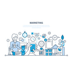 marketing market research management strategy vector image vector image