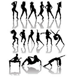 Set of Silhouettes of Dancing Couple and Girls vector image