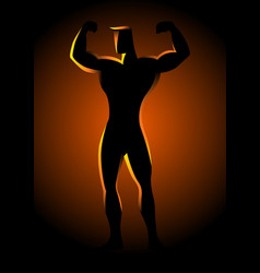 silhouette of a bodybuilder pose vector image vector image