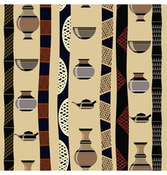 Tribal seamless texture with utensils vector image vector image