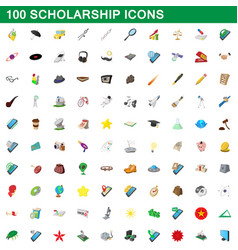 100 scholarship icons set cartoon style vector image