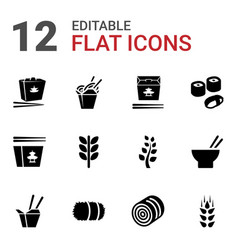 12 rice icons vector