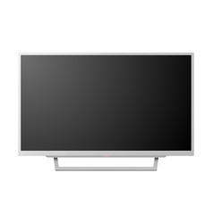 3d realistic white blank tv screenon stand vector image