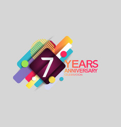 7 years anniversary colorful design with circle vector