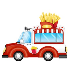 A vehicle selling fries vector