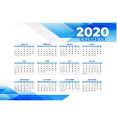 Abstract blue 2020 calendar design template vector