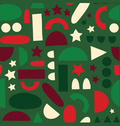 abstract shapes background in christmas colors vector image