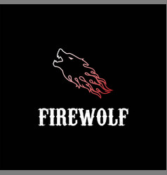 angry attack wolf head fire tribal tattoo logo vector image