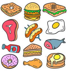 Art of various food doodles vector