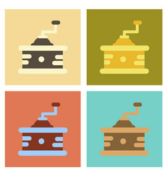 Assembly flat icons coffee mill grinder vector