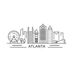 Atlanta minimal style city outline skyline with vector