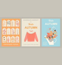 Autumn market handmade products set images vector