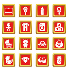 baby born icons set red square vector image