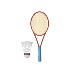 Badminton racket and shuttlecock icon vector
