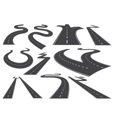 bending roads high ways or roadways collection vector image