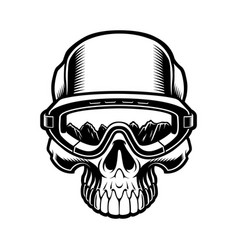 black and white a skull in ski glasses vector image