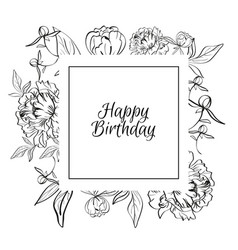 black and white flower frame congratulations on vector image