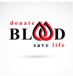 blood donation inscription isolated on white red vector image