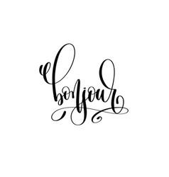 Bonjour - hello in english hand lettering modern vector