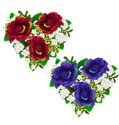 bouquets of red and blue flowers in shape of heart vector image