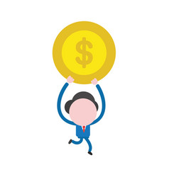 businessman character running and carrying dollar vector image