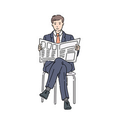 businessman in suit sitting reading newspaper vector image