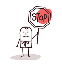 Cartoon businessman holding a stop sign vector