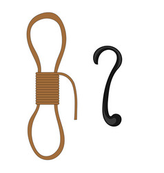 Cartoon rope and hook isolated on white vector
