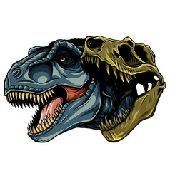 cartoon t-rex who was very angry staring and vector image