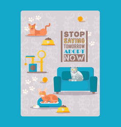 Cats result stop saying tomorrow adopt now vector