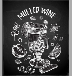 Chalk drawing mulled wine and spices vector