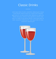 classic drinks red wine poster champagne glasses vector image