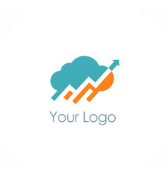Cloud upload arrow logo vector