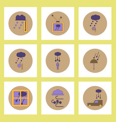 Collection of icons in flat style weather and vector