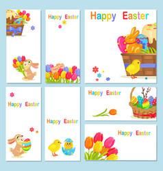 concept happy easter chicken flowers bunny vector image
