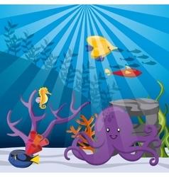 Coral fish and octopus icon sea life design vector