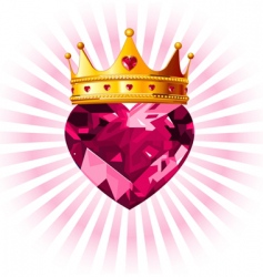 Crystal heart with crown vector