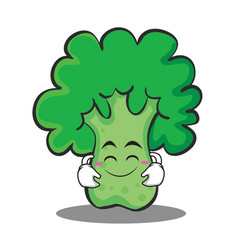 Cute smile broccoli chracter cartoon style vector
