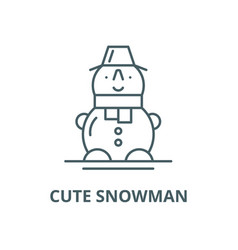cute snowman line icon cute snowman vector image