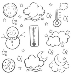Doodle of weather set hand draw vector