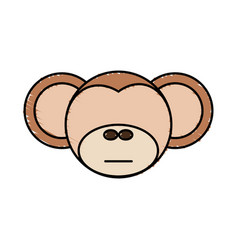 drawing monkey face animal vector image