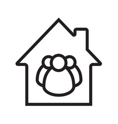 Family house linear icon vector