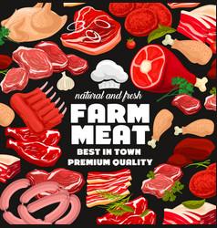 Farm meat products butcher shop sausages vector