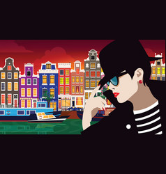Fashion woman in style pop art the girl on the vector