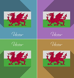 Flags Wales Set of colors flat design and long vector image